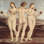 Raphael Sanzio (Italian: Raffaello) (1483 - 1520)  Three Graces  Oil on panel, 1501-1505  17 cm × 17 cm (6.7 in × 6.7 in)  Musée Condé, Chantilly, France